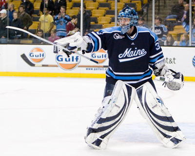Dave Wilson took over as Maine's starting goaltender at the start of the playoffs (photo: Melissa Wade).