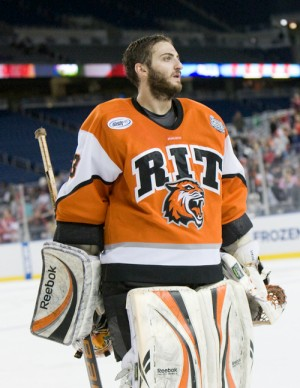 RIT goaltender Jared DeMichiel stopped 27 of the 33 shots he faced (photo: Melissa Wade).