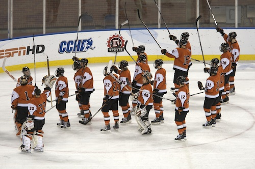 RIT salutes its fans after a Frozen Four semifinal loss (photo: Jim Rosvold).