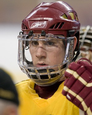 Boston College's Jimmy Hayes listens to coach Jerry York at Friday's practice (photo: Melissa Wade).