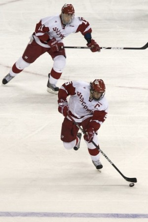 Wisconsin's Blake Geoffrion (front) and Andy Bohmbach were each minus-2 in the national championship game (photo: Jim Rosvold).