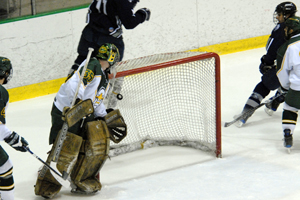 Brockport's Todd Sheridan watches helplessly as Geneseo scores their first goal (photo: Angelo Lisuzzo).