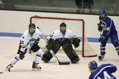 Unbeaten goaltender Chris Rossi looks to lead the top seeded Bowdoin Polar Bears past cross-state rival Colby in the third meeting of the year between the two teams (photo: Tim Costello).