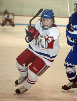 NEC forward Alex Muse is focused on moving the Pilgrims up in the standings (photo: Jen Toof).