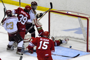 Craig Serino's first period shot caroms over Plattsburgh goaltender Josh Leis and trickles into the net (photo: Angelo Lissuzo).