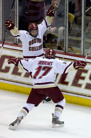 Cam Atkinson (left) and Brian Gibbons have combined for 96 points this season for Boston College (photo: Melissa Wade).