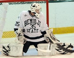 Mathieu Dugas made 13 saves for a shutout of Northern Michigan last Saturday (photo: BSU Photo Services).
