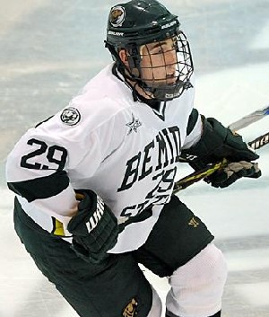 Brad Hunt's hat trick last Saturday was Bemidji State's first by a defenseman since March 13, 2004 (photo: BSU Photo Services).