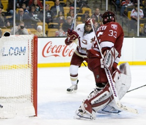 By the time Brian Gibbons gave Boston College a 5-0 lead in the third period, it was clear how out of it Harvard was (photo: Melissa Wade).
