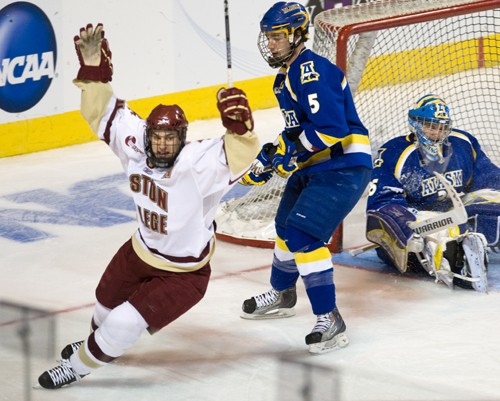 Boston College's Matt Lombardi celebrates his shorthanded goal (photo: Melissa Wade).