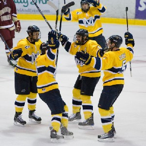 Merrimack celebrates a goal in its 5-3 victory over Boston College on Nov. 1 (photo: Melissa Wade).