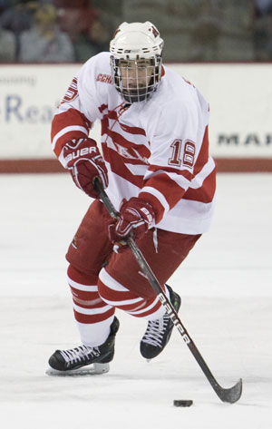 Reilly Smith has eight goals and 20 points, and has played in all 43 games for Miami as a freshman (photo: Miami Athletics).