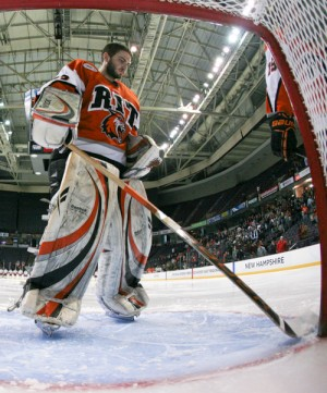 With Jared DeMichiel between the pipes, RIT has allowed just 14 goals in its last 11 games (photo: Melissa Wade).