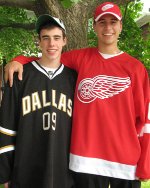 Brendan Smith (right) was a first-round pick by Detroit in 2007; brother Reilly was a third-round pick by Dallas in 2009 (photo courtesy Smith family).