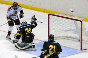 Norwich's Chad Anderson scores the first goal of the game. Photo by Angelo Lisuzzo.