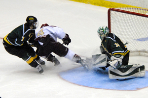 B. J. O'Brien makes one of his record 70 saves. Photo by Angelo Lisuzzo.