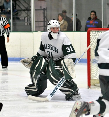 Babson goalie Zeke Testa has his eye on a repeat ECAC East title for the Beavers (photo: Tim Costello).