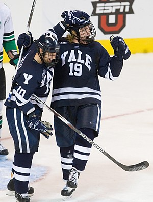 Denny Kearney celebrates his second goal against North Dakota (photo: Melissa Wade).