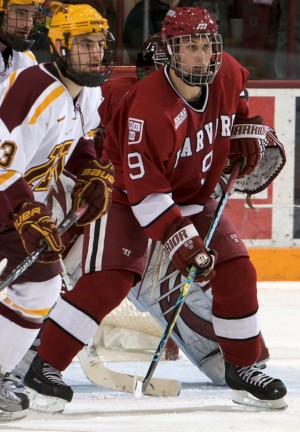 Harvard's Danny Biega (right) is 46th among North American skaters in the NHL Central Scouting rankings (photo: Jim Rosvold).