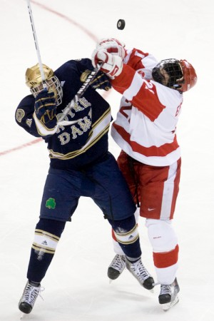 Notre Dame's Riley Sheahan (left) had six goals and 11 assists in his rookie season (photo: Melissa Wade).