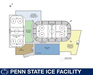 A drawing shows the floor plan for the new Penn State arena (photo: Penn State Athletics).