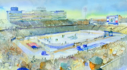 An artist's rendering of Rentschler Field with an ice surface (photo: Whalers Sports & Entertainment).