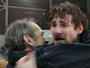 Middlebury coach Bill Beaney and forward John Dawson after the 2004 NCAA championship game. (Tim Brule)