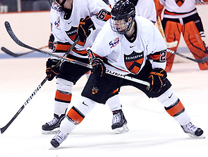 Mike Kramer (Princeton - 21) scored at 4:29 of the second period to bring the Tigers even with the Colgate Raiders 2-2. (Shelley M. Szwast)