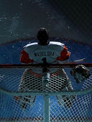 Sophomore Goalie Shane Madolora absorbs the spotlight before the game at Ritter Arena, in Rochester, New York. (Dylan Heuer)