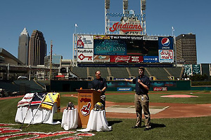 The Cleveland Indians announce the game at Progressive Field between Michigan and Ohio State. (Tim Brule)