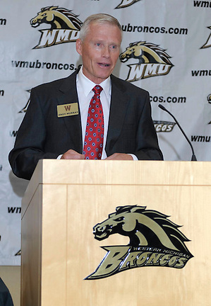 Andy Murray speaks after being named head coach at Western Michigan on Tuesday, July 26, 2011. (GARY SHOOK, GS Photo)