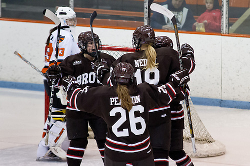 Brown celebrates a goal by Laurie Jolin (Brown - 28). (Shelley M. Szwast)
