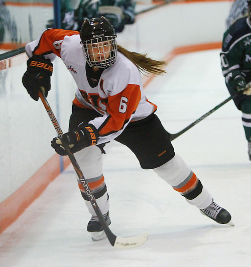 RIT forward Tenecia Hiller skates alongside the boards against Mercyhurst during the first period at Ritter Arena in Rochester, New York on Friday, September 28, 2012. The Tigers plays in their first-ever game as a Division I member. (Dylan Heuer/© Dylan Heuer 2012)