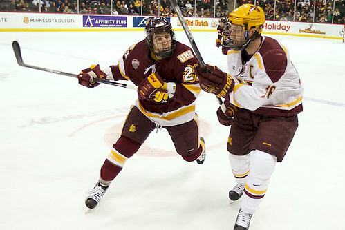 24-25 Jan 14: Caleb Herbert (Minnesota Duluth - 21), Nate Condon (Minnesota - 16). Scenes from the inaugural North Star College Cup at the Xcel Energy Center in St. Paul, MN. (Jim Rosvold)