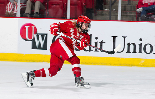 Wisconsin Badgers Brittany Ammerman (10) shoots the puck during an NCAA women's hockey game against the Boston University Terriers on October 29, 2011 in Madison, Wisconsin. The Badgers 6-1. (Photo by David Stluka) (David Stluka)