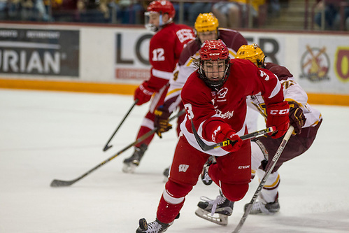 11 Mar 16:  Corbin McGuire (Wisconsin - 3).  The University of Minnesota Golden Gophers host the University of Wisconsin Badgers in a B1G Conference matchup at Mariucci Arena in Minneapolis, MN (Jim Rosvold/University of Minnesota)