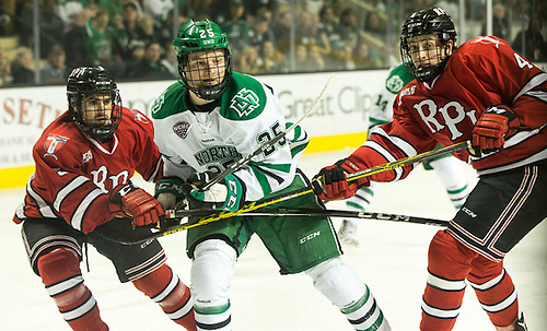 Joel Janatuinen (North Dakota-25) Charlie Manley (RPI-5)   16 October 15 RPI and University of North Dakota meet in a non conference contest at the Ralph Engelstad Arena in Grand Forks, ND (Bradley K. Olson)