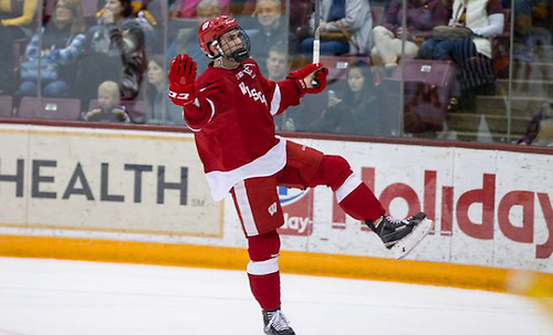 11 Mar 16:  Luke Kunin (Wisconsin - 9).  The University of Minnesota Golden Gophers host the University of Wisconsin Badgers in a B1G Conference matchup at Mariucci Arena in Minneapolis, MN (Jim Rosvold/University of Minnesota)