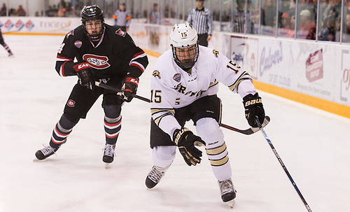 Ben Storm (SCSU-4) Scott Moldenhauer (Western Michigan-15) 16 Jan. 22 St. Cloud State University and Western Michigan meet in a NCHC conference match-up at the Herb Brooks National Hockey Center in St. Cloud, MN (Bradley K. Olson)