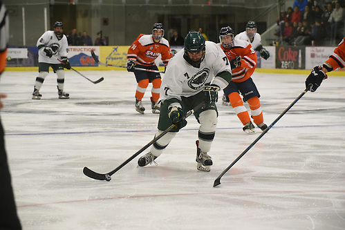 Junior Chris Zuccaro was one of six goal scorers against Salem State on Saturday but the Plymouth State Panthers are looking for a regulation win on Thursday against Framingham State (Kim Bownes)