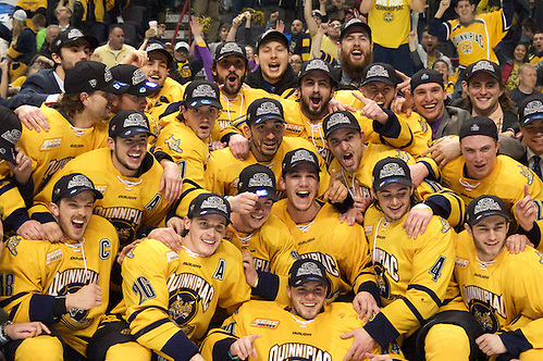 The Quinnipiac Bobcats defeated UMass Lowell to advance to the Frozen Four (2016 Omar Phillips)