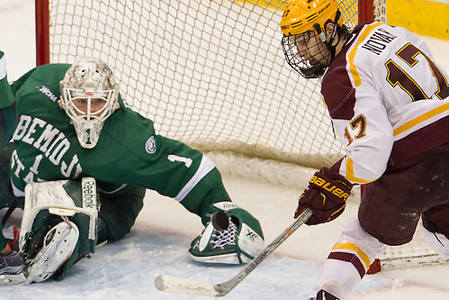 23 Jan 16:  Michael Bitzer (Bemidji State - 1), Tommy Novak (Minnesota -17). The University of Minnesota Golden Gophers play against the Bemidji State University Beavers in a North Star College Cup semifinal matchup at the Xcel Energy Center in St. Paul, MN. (Jim Rosvold)