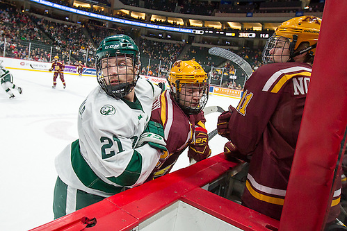 28 Jan 17: Gerry Fitzgerald (Bemidji State - 21), Tyler Sheehy (Minnesota - 22). The Bemidji State Beavers play against the University of Minnesota Golden Gophers in the third place game of the North Star College Cup at the Xcel Energy Center in St. Paul, MN. (Jim Rosvold)