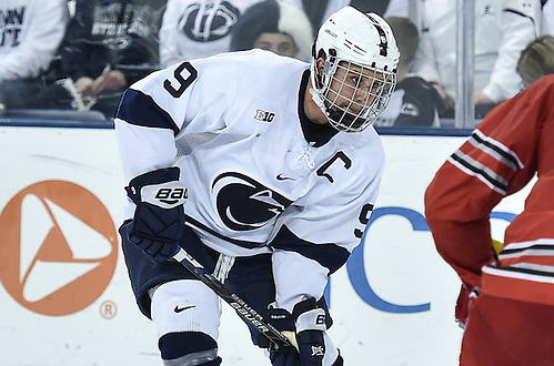 Penn State's David Goodwin (9) during second period action with the Buckeyes.  No. 1 Penn State skated to a, 3-3, tie against No. 11 Ohio State while the Buckeyes earned the extra point with a seven-round shootout win on Jan. 20, 2016 in Pegula Ice Arena. Photo by Mark Selders (Mark Selders/Penn State Athletics)