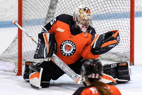 Steph Neatby (Princeton - 35) made 29 saves for the shutout, as Princeton forced a third and final game in their first round playoff series against Quinnipiac. (Shelley M. Szwast)