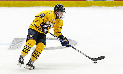 March 19, 2016:  Quinnipiac Bobcats forward Andrew Taverner (39) skates with the puck during 2016 ECAC Tournament Championship game between Harvard University and Quinnipiac University at Herb Brooks Arena in Lake Placid, NY. (John Crouch/J. Alexander Imaging)
