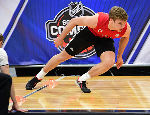 Joshua Norris, an incoming Michigan commit, takes part in the 2017 NHL Combine earlier this month in Buffalo (photo: Hickling Images)