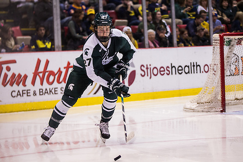 5Feb16: Mason Appleton (MSU-27)The Michigan Wolverines take on the Michigan States Spartans at the annual Duel in the D at the Joe Louis Arena. (Michael Dubicki)