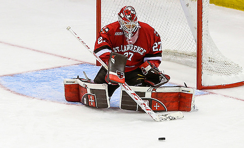 March 18, 2016:  St. Lawrence Saints goalie Kyle Hayton (27) makes save during 2016 ECAC Tournament Semifinal game between St. Lawrence University and Harvard University at Herb Brooks Arena in Lake Placid, NY. (John Crouch/J. Alexander Imaging)