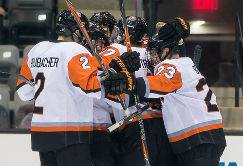 RIT players celebrate a second period goal in a 5-3 win over Robert Morris (2017 Omar Phillips)